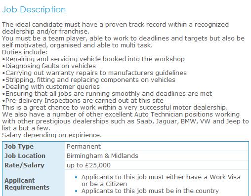 Mechanic Job Description