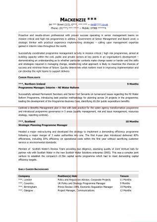 CV design using the 'Quadrant Method'