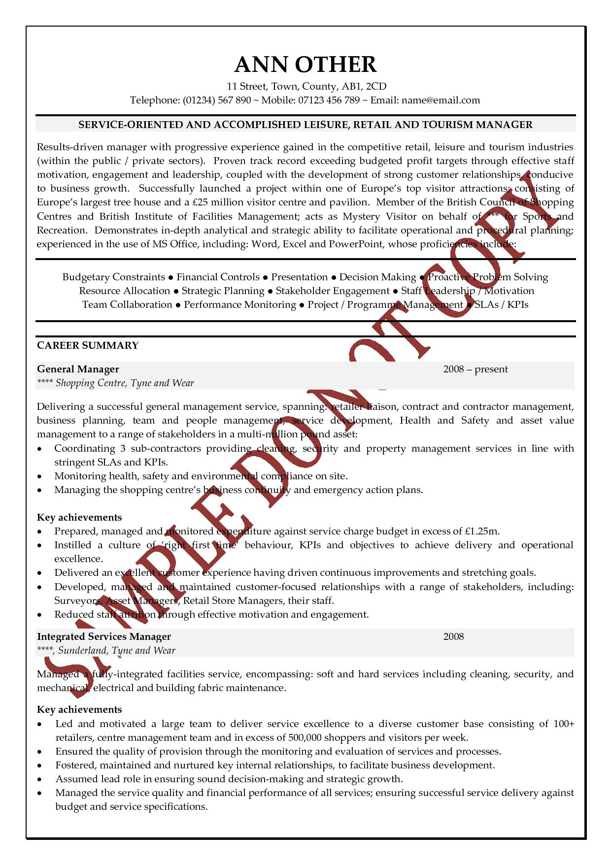 executive cv examples the cv store - Senior Executive Resume Examples