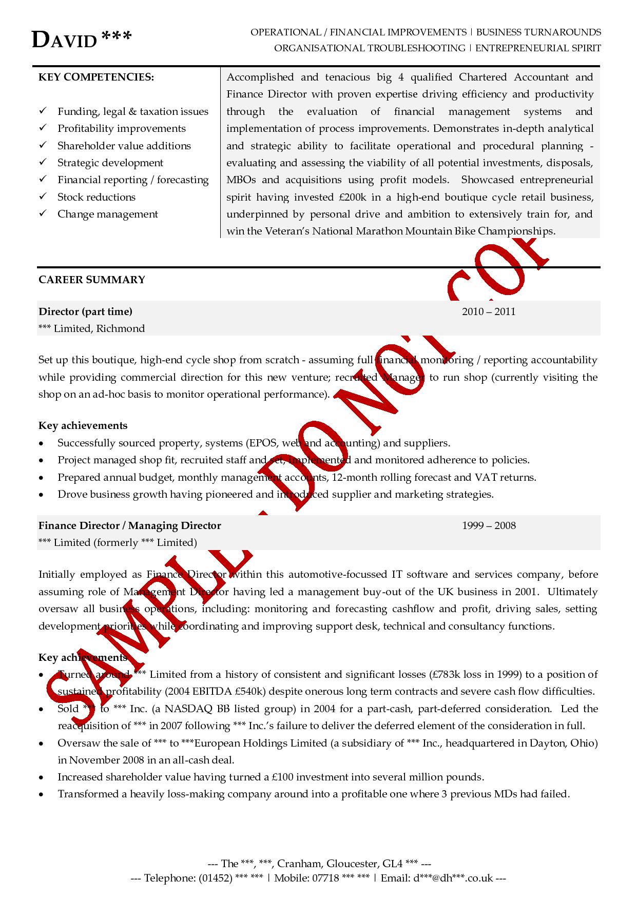 Executive CV Example: Finance Director  Resume Examples For Executives