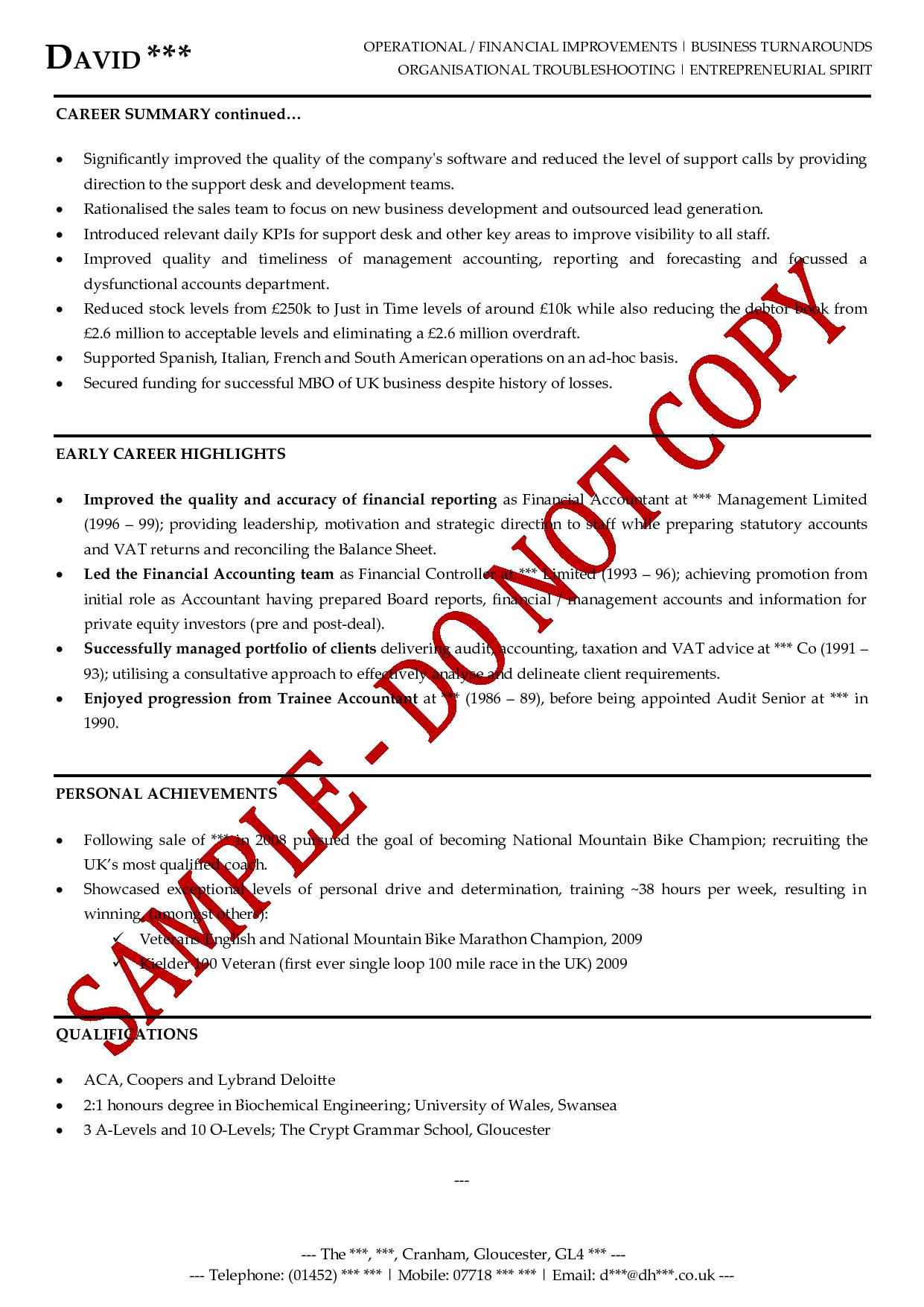 executive cv examples the cv store executive cv example s director