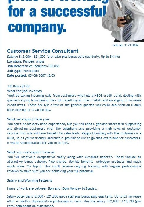 Customer Service Job Spec