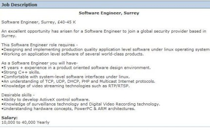 Software Engineer CV Example – Software Engineer Job Description